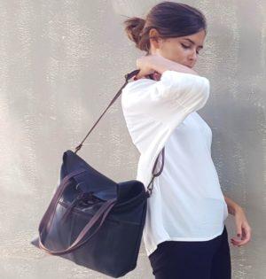 cala bolso de piel natural Castaño