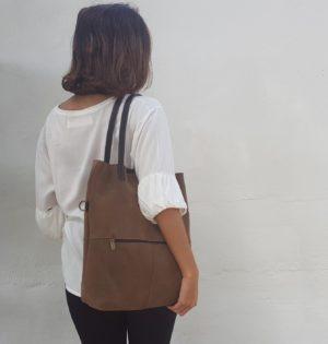 Cala bolso piel natural Castaño