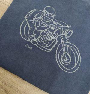 Cala camiseta algodón trazo moto calaalicante 30 aniversario fabricado en España