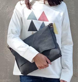 Cala bolso Muérdage serraje gris piel hecho en España caladesde1990