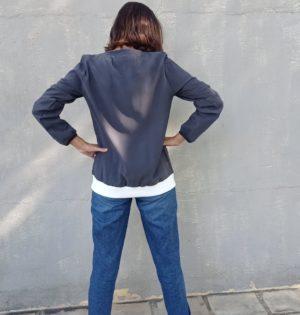 Cala blusa carbón elástico blanco calaalicante 30 aniversario