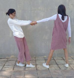 Cala vestido de pana rosa 100% algodón hecho en Portugal calaalicanye 30 aniversario