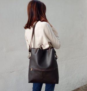 Cala bolso Castaño piel hecho en España calaalicante