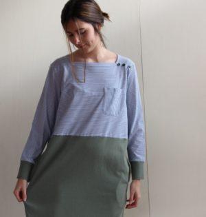 Cala vestido de rayitas diseño español calaalicante caladesde1990