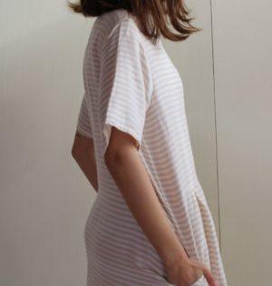 Cala vestido de rayas beige calaalicante diseño español caladesde1990