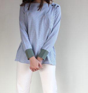 Cala camiseta de rayitas azul calaalicante diseño español caladesde1990