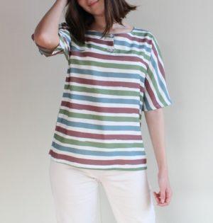 Caña blusa de rayas de colores moda calaalicante diseño español caladesde1990