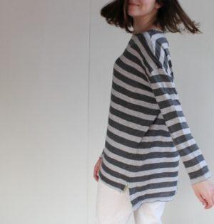 Cala camiseta gris de rayas calaalicante diseño español moda nueva temporada caladesde1990